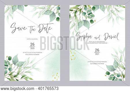 Watercolor Wedding Invitation Cards. Greenery Poster, Invite. Elegant Wedding Invitation With Waterc