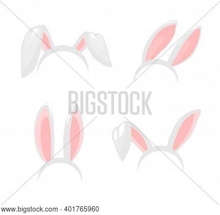 Bunny Ears, Easter Holiday Vector Isolated Icons. Bunny Rabbit Ears Mask, Headband Or Hairband With