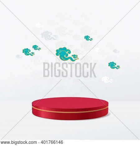 3d Red And Gold Circle Shape Podium Display With Vintage Chinese Clouds Background. Chinese New Year