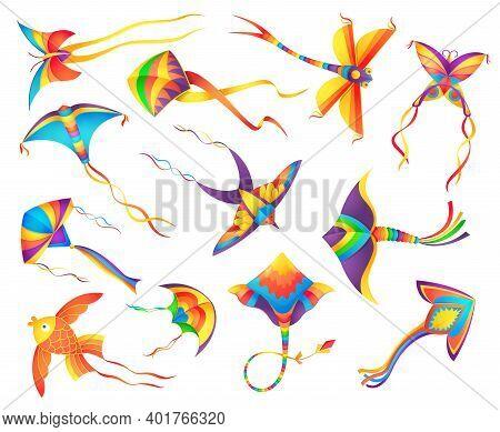 Flying Paper Kites Decorated Colorful Ribbons Set. Kids Toys, Indian Makar Sankranti Festival Symbol