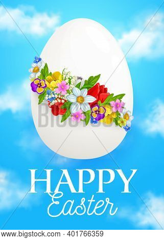 Easter Egg With Spring Flowers, Vector Wreath Of Daffodil, Pansy, Tulip And Crocus Blossoms With Gre