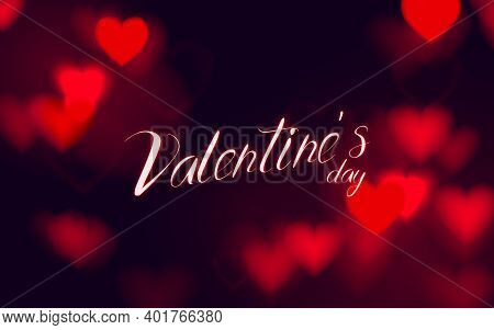 Abstract Hearts Bokeh Glitter Lights Background. Defocused. Valentines Love Banner For Wedding Greet