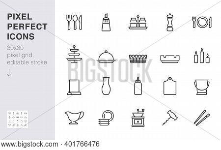 Crockery Line Icon Set. Table Setting - Sugar Bowl, Salt Shaker, Fork, Spoon, Food Sticks, Ashtray M