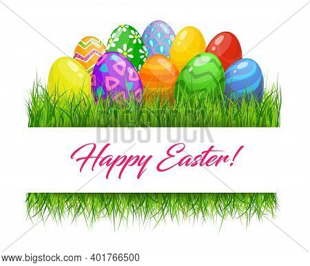 Easter Eggs In Green Grass Border, Religious Holiday Vector. Happy Easter Greeting With Green, Yello