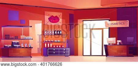 Cosmetics Shop With Products For Makeup, Skincare And Perfume On Shelves. Vector Cartoon Interior Of