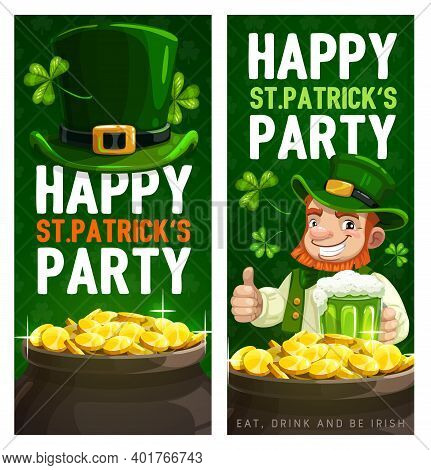 St. Patrick Day Cartoon Vector Banners With Leprechaun In Green Top Hat Show Thumb Up Drinking Ale N
