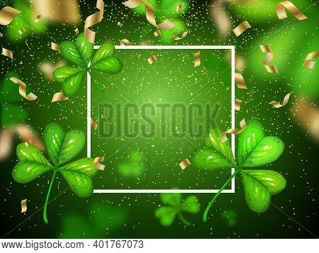 St. Patricks Day Shamrock Holiday Vector Poster With Clover On Green Blurred Background. Cartoon Fra