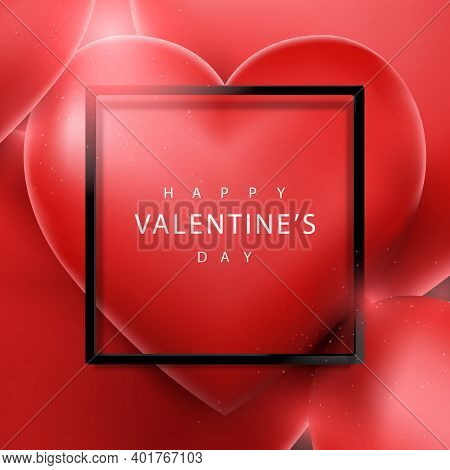 Valentines Day And Wedding Background. 3d Red Heart Balloon Floating And Black Frame. Vector Illustr