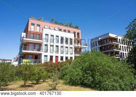 Modern Apartment Houses In A Green Surrounding In Berlin, Germany