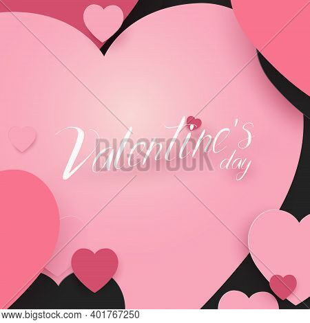 Valentines Day And Wedding Background. Abstract Paper Art Pink And Black Hearts. Vector Illustration