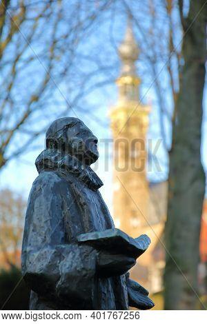 Statue Of Dutch Poet And Composer Adrian Valerius (1575, 1625), Unveiled In 1979 (sculptor Mari Andr