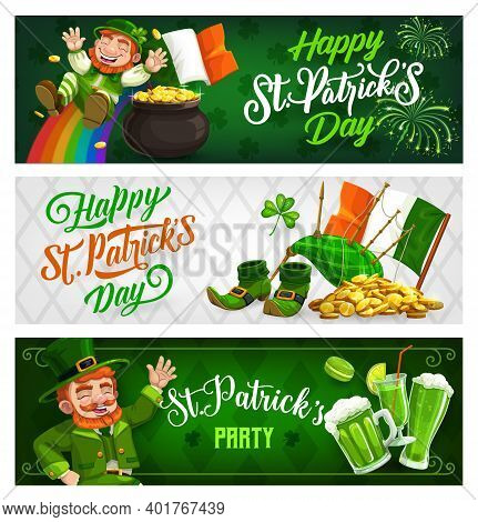St. Patricks Day Banners, Cartoon Vector Leprechaun In Green Top Hat Riding Down Rainbow. Pot With G