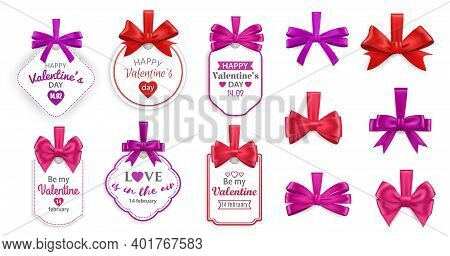 Valentines Day Love Holiday Gift Tags. Vector Cards With Hearts, Red And Pink Bows Of Silk Ribbons O