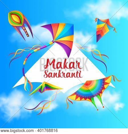 Makar Sankranti Holiday Celebration Background With Kites. Hinduism Religion Maghi Festival Greeting