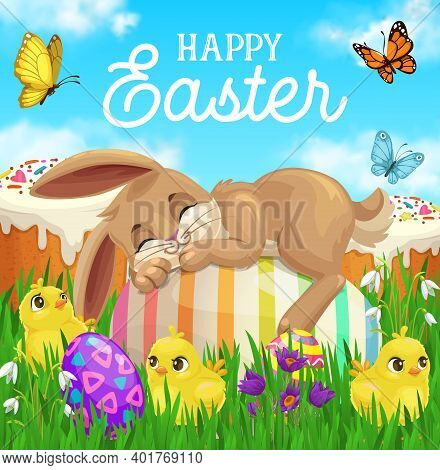 Easter Bunny Sleeping On Egg Vector Greeting Card With Green Grass, Chicks, Easter Sweet Cakes And S