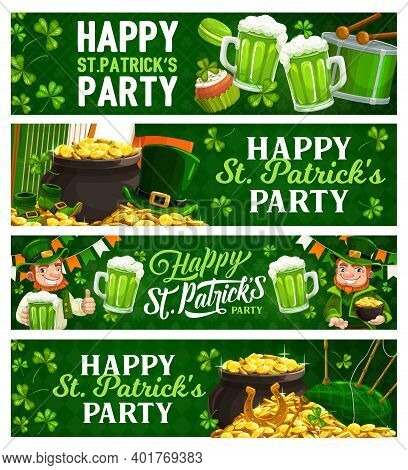 St. Patricks Day Cartoon Banners. Vector Leprechaun In Green Top Hat Hold Pot With Gold Coins And Pi
