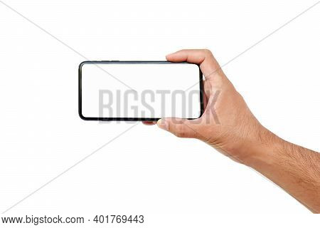 Man Hand Holding A Cell Phone White Screen Isolated On White Background With Clipping Path.
