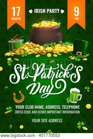 St. Patricks Day Party Vector Flyer, Cartoon Poster With Leprechaun Pot Stand On Gold Pile With Top