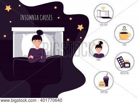 Womans insomniac lying in bed at night. Tired man suffer from sleeping disorder, insomnia, nightmare, sleeplessness.Tips and rule for bedtime sleep against insomnia