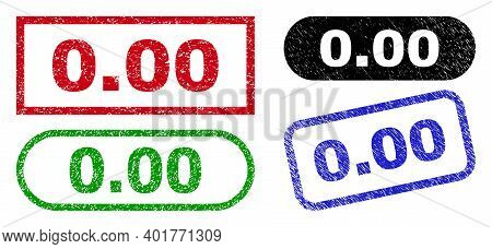 0.00 Grunge Stamps. Flat Vector Grunge Watermarks With 0.00 Phrase Inside Different Rectangle And Ro