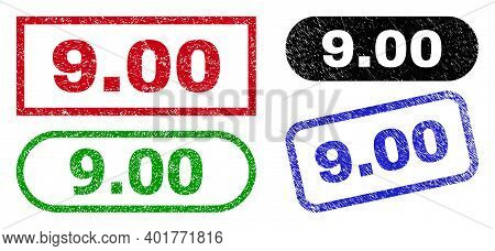 9.00 Grunge Seal Stamps. Flat Vector Grunge Watermarks With 9.00 Title Inside Different Rectangle An