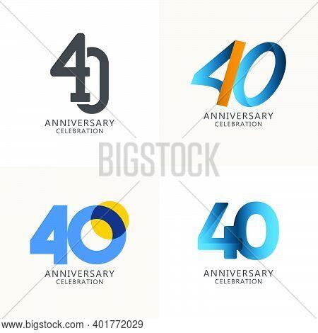 40 Years Anniversary Celebration Compilation Logo Vector Template Design Illustration