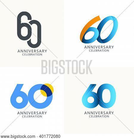 60 Years Anniversary Celebration Compilation Logo Vector Template Design Illustration