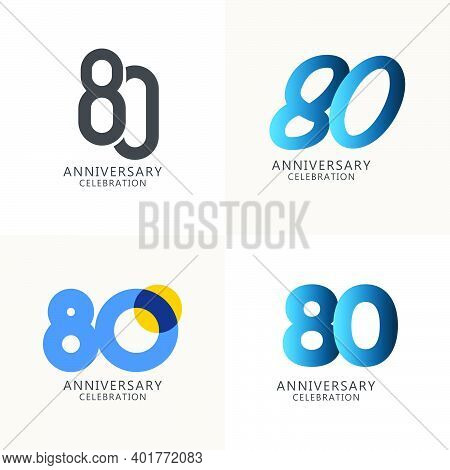 80 Years Anniversary Celebration Compilation Logo Vector Template Design Illustration