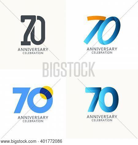 70 Years Anniversary Celebration Compilation Logo Vector Template Design Illustration