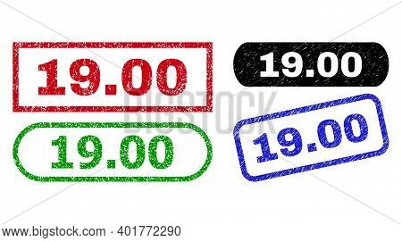 19.00 Grunge Watermarks. Flat Vector Grunge Stamps With 19.00 Text Inside Different Rectangle And Ro