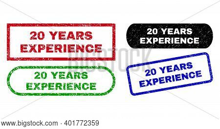 20 Years Experience Grunge Stamps. Flat Vector Scratched Seal Stamps With 20 Years Experience Slogan