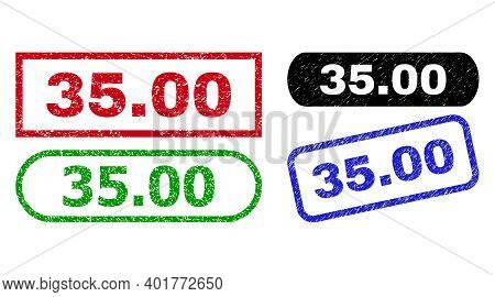 35.00 Grunge Watermarks. Flat Vector Scratched Watermarks With 35.00 Message Inside Different Rectan