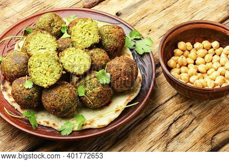 Falafel Balls Made From Chopped Legumes Or Chickpeas.fresh Chickpeas Falafel