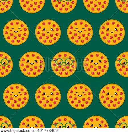 Cute And Smiling Cartoon Style Pepperoni Pizza Characters Vector Seamless Pattern Background.