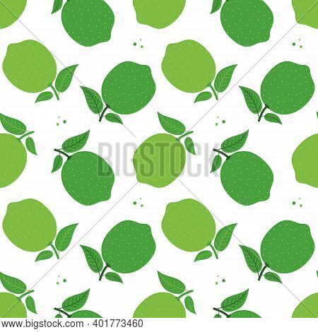 Vector Seamless Pattern Background With Fresh Green Limes With Leaves.