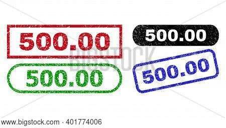 500.00 Grunge Seal Stamps. Flat Vector Grunge Seal Stamps With 500.00 Message Inside Different Recta