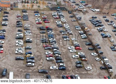 City Outdoor Parking Lot With Semi-durable Surface In Cloudy Weather, Top View