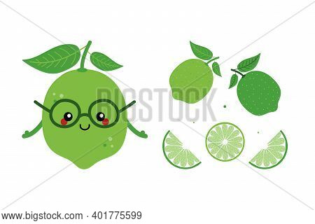 Cute Smiling Lime Character With Set, Collection Of Sliced Limes For Food Design.