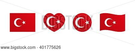 Flag Of Turkey Set, Collection Of Design Elements In Different Shapes For Turkish Public And Nationa