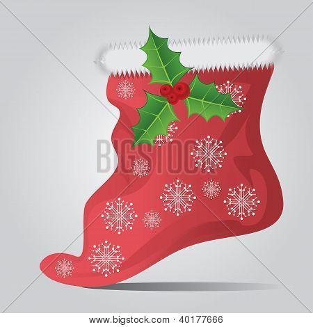Christmas Sock On Gray Background