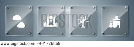 Set Full Dustbin, Withered Tree, Polar Bear Head And Cloud. Square Glass Panels. Vector