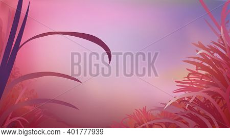 Abstract Red Pink Colour Background With Glade Grass, Horizontal Panoramic View. Meadow Blur. Vector