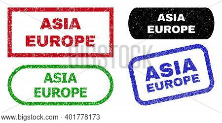 Asia Europe Grunge Seal Stamps. Flat Vector Distress Seal Stamps With Asia Europe Slogan Inside Diff