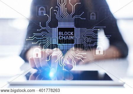 Blockchain Technology Concept On Virtual Screen. Cryptography And Cryptocurrency.