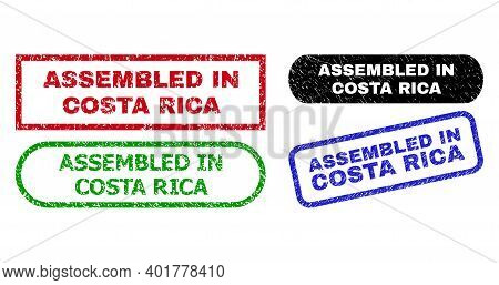 Assembled In Costa Rica Grunge Seal Stamps. Flat Vector Scratched Seal Stamps With Assembled In Cost
