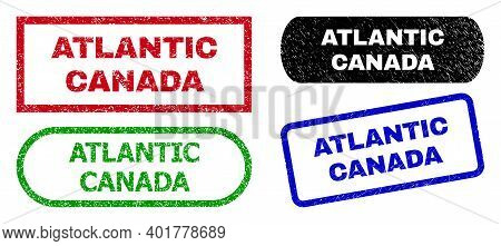 Atlantic Canada Grunge Seals. Flat Vector Grunge Seals With Atlantic Canada Slogan Inside Different