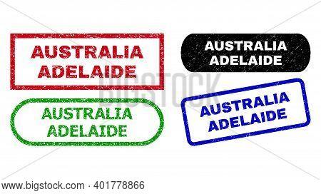 Australia Adelaide Grunge Seals. Flat Vector Scratched Seals With Australia Adelaide Phrase Inside D