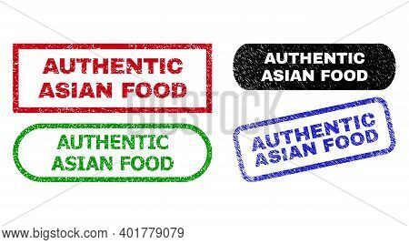 Authentic Asian Food Grunge Seal Stamps. Flat Vector Grunge Seal Stamps With Authentic Asian Food Me