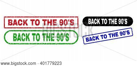 Back To The 90s Grunge Stamps. Flat Vector Scratched Stamps With Back To The 90s Text Inside Differe