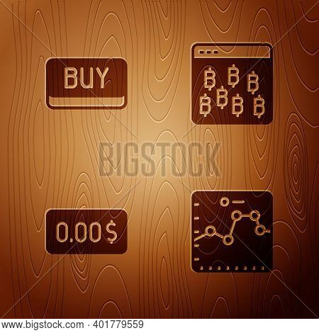 Set Browser With Growth Graph, Buy Button, Zero Cost And Bitcoin In Browser On Wooden Background. Ve